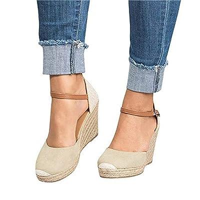 Mafulus Womens Espadrilles Wedge Sandals Closed Toe Ankle Strap Buckle Summer Platform Sandal   Platforms & Wedges