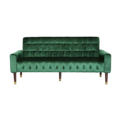 Amazon Com Adan Tufted Velvet Sofa With Gold Tipped Tapered