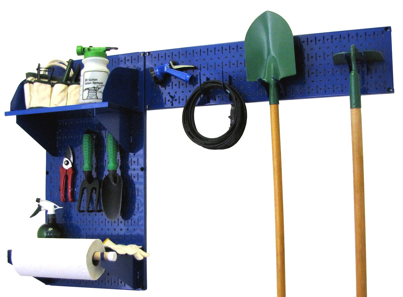 Wall Control 30-GRD-200 BUW Pegboard Garden Supplies Storage and Organization Garden Tool Organizer Kit with Blue Pegboard and White Accessories