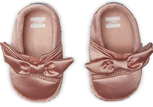 Amazon.com | TOMS Kids Baby Girls Crib Alpargata (Infant/Toddler) Rose Cloud Satin/Bow 4 M US Toddler M | Shoes