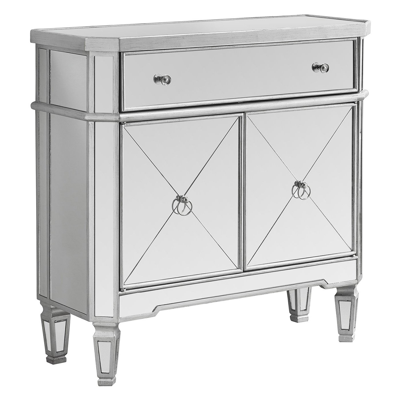 "Amazon.com: Monarch Specialties Mirrored Accent Chest, Brushed Silver  Frame, 32"" L: Kitchen & Dining"