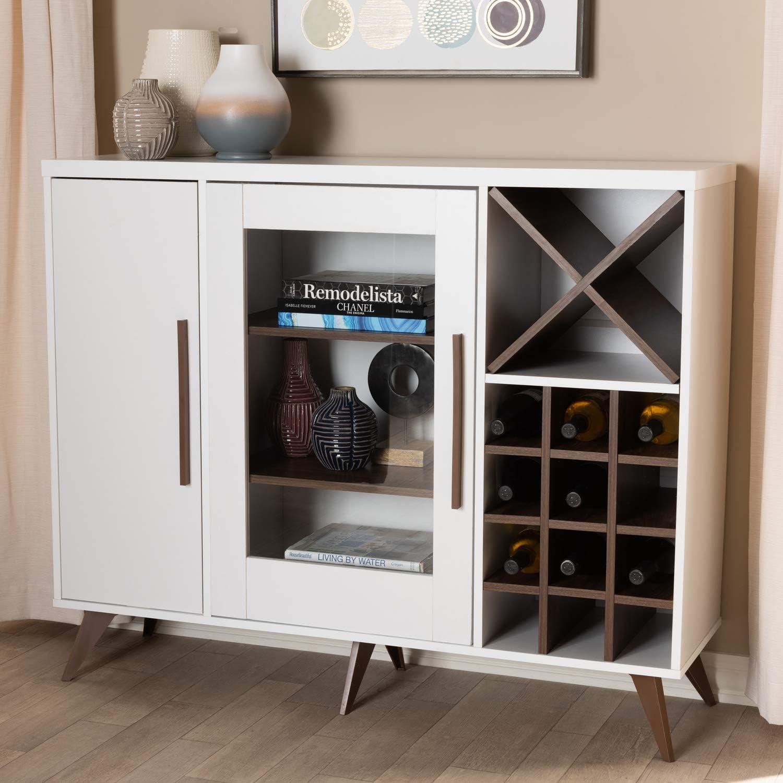 Baxton Studio Pietro Mid Century Modern White And Walnut Finished Wood Wine Cabinet Furniture Decor