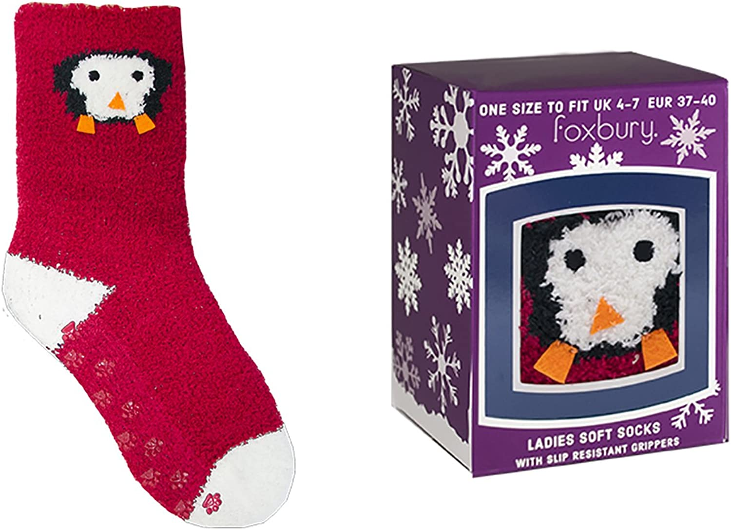 Ladies 2 pairs Penguin Socks With Gripper Soles Great Stocking Filler