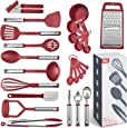 Kitchen Utensil Set 24 Nylon and Stainless Steel Utensil Set, Non-Stick and Heat Resistant Cooking Utensils Set, Best Kitchen Tools, Useful Pots and Pans Accessories and Kitchen Gadgets (Red)