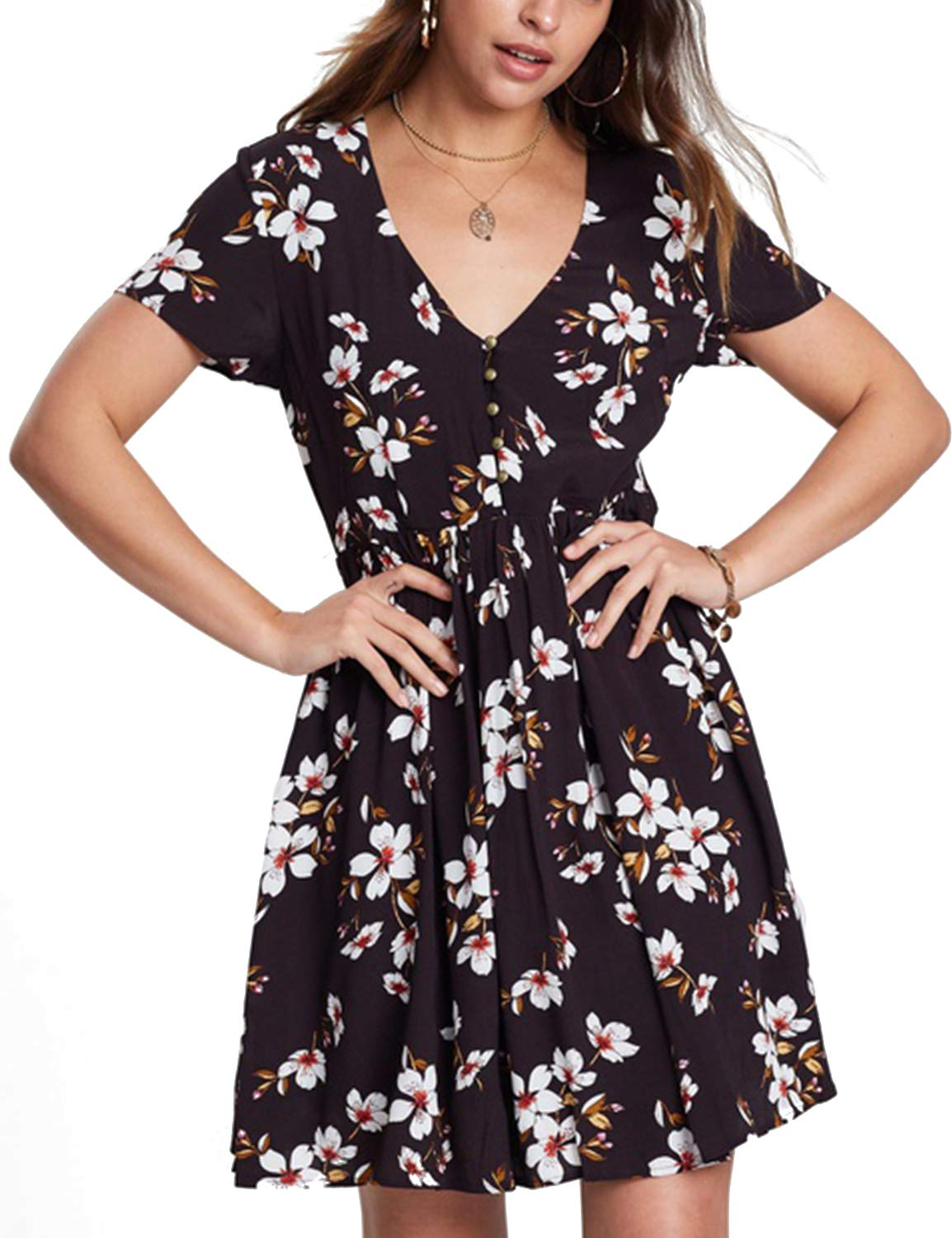 Blooming Jelly Women's V Neck Short Sleeve Floral Print Flare Mini Dress Black