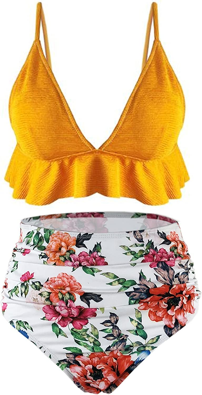 SS Queen Women Fashion Two Pieces Tankini Set Print Swimsuits Ruffles High Waisted Swimwear