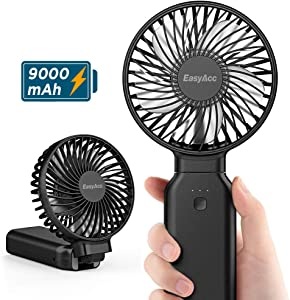 Handheld Fan, EasyAcc 9000mAh Battery Fan 2020 Upgraded Portable Fan with Unique One Touch Power Off USB Desk Fan 9-53 Hours 4 Speeds Strong Winds Personal Cooling Fan for Home Office Outdoor-Black