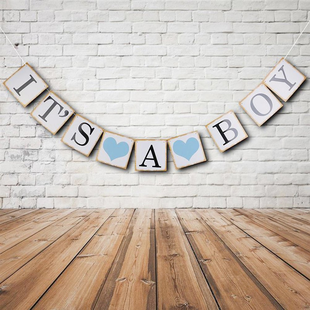 SunshineTrees IT IS A BOY Paper Garland Bunting Banner Christening Baby Shower Garland Birthday Party Favors