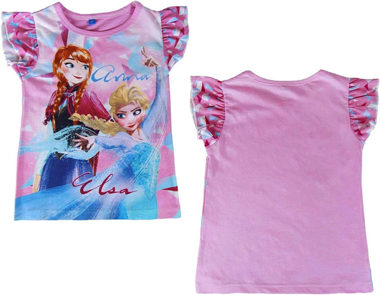 MEDIA WAVE store T-Shirt Bambina Frozen Elsa e Anna 2200001949 in Cotone Taglia da 3 a 7 Anni 4 Anni
