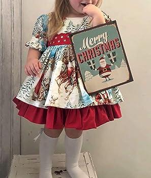 Vestido de Navidad Estampado para Niña Vestido de Navidad de Manga ...