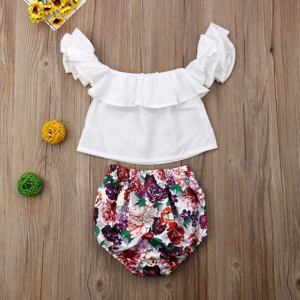 Toddle Baby Kids Girls Short Suits Matching White Flounce Top Colorful Flower Short Outfit 0-2T