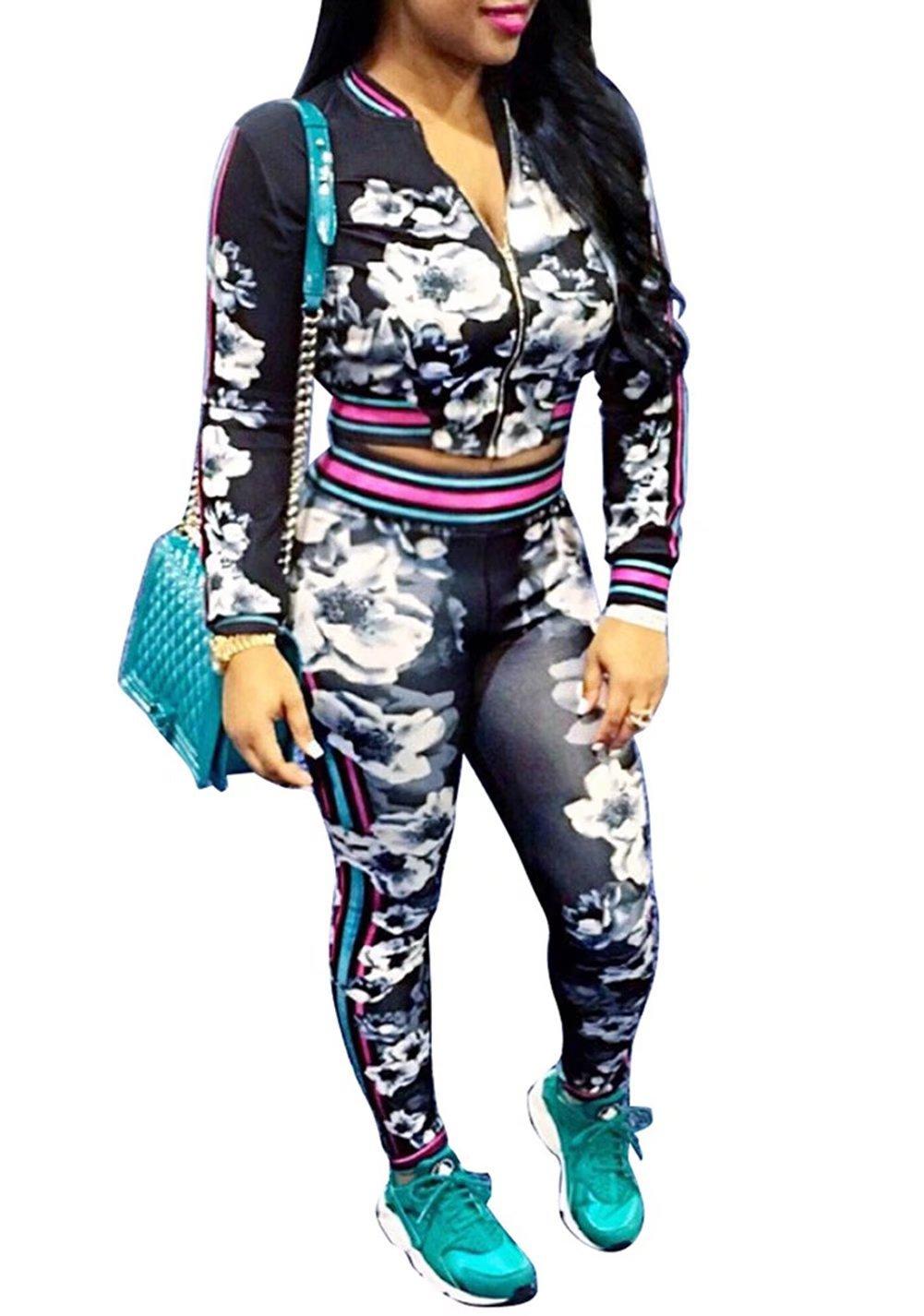 Women's Hawaii Floral 2 Piece Set Tracksuit Sports Joggers Jacket Suit Black XL