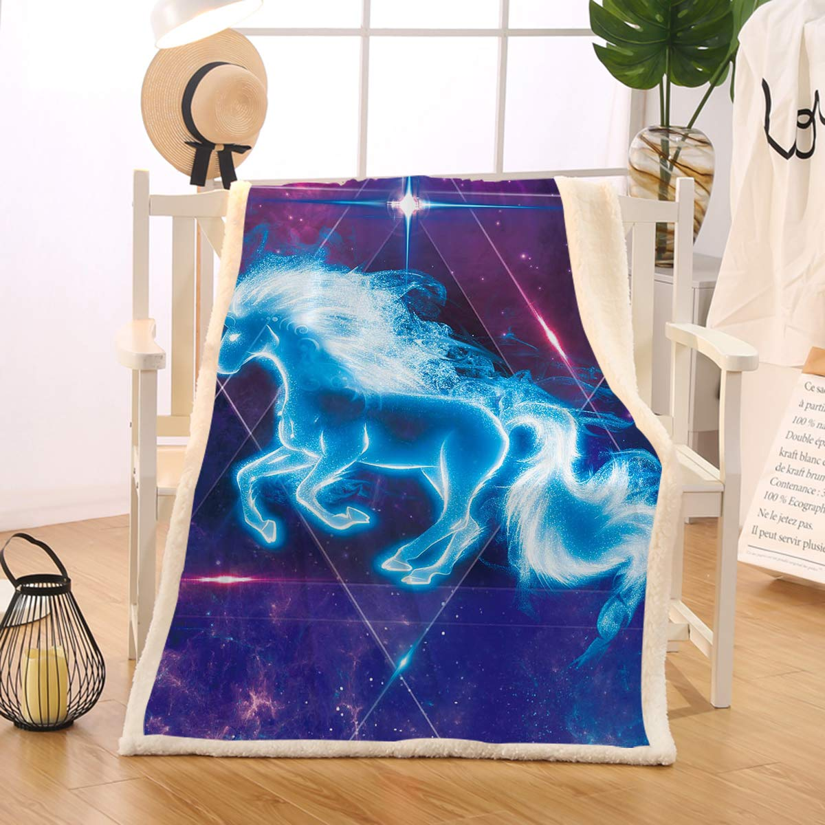 BlessLiving Unicorn Blanket for Girls Boys Kids Blue Purple Galaxy Bed Sofa Soft Throw Blanket Reversible Sherpa Fleece Blanket (Twin, 60 x 80 Inches) by BlessLiving