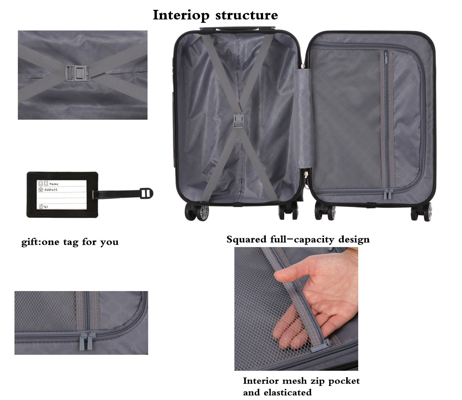 Luggage Set 3 Piece ABS Trolley Suitcase Spinner Hardshell Lightweight Suitcases TSA by ERIC YIAN (Image #6)