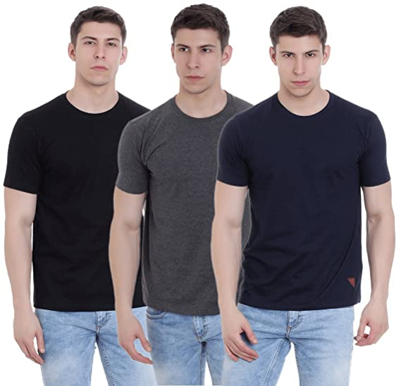 1e49d1632 FAB69 Solid Men s Round Neck Half Sleeve Cotton Plain Black Navy  Blue Charcoal Melange T-Shirt (Combo Pack of 3) - Leather Patch - Bottom  Hem  Amazon.in  ...