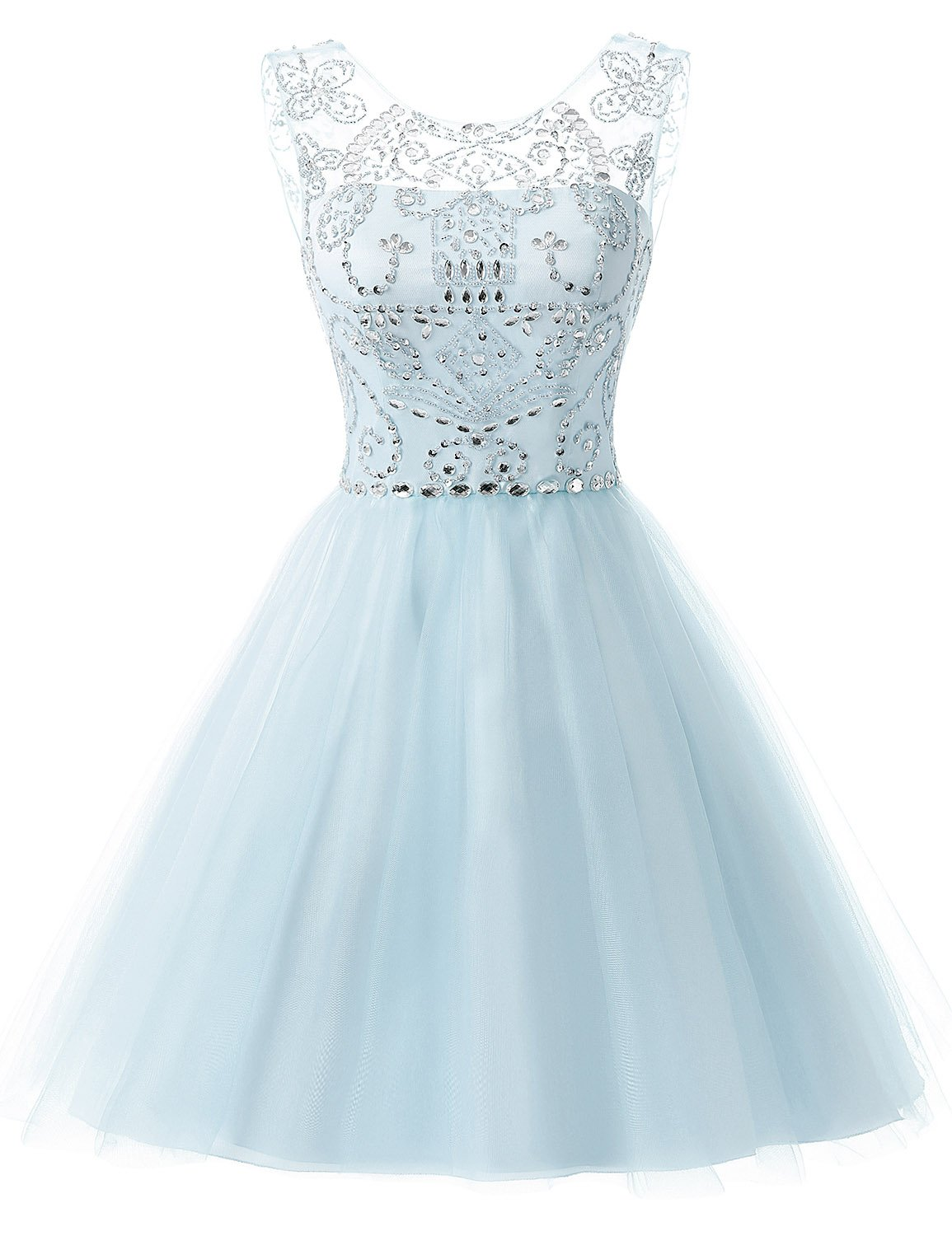 Sarahbridal Women's Short Tulle Prom Party Dresses Beading Crystal Homecoming Gowns Light Blue US4