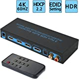 4K@60Hz HDMI 2.0 Switch 3x1 with Optical SPDIF & RCA L/R Audio Out, FiveHome 3 in 1 Out HDMI Audio Extractor Splitter with Remote, Supports ARC, 4Kx2K, Ultra HD
