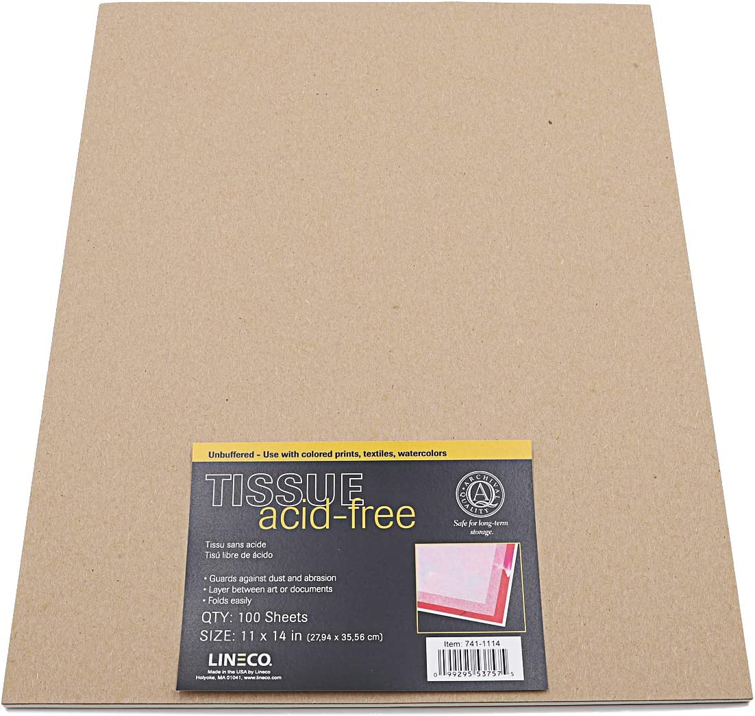 Lineco Unbuffered Acid-Free Tissue Paper Set of 2 Pack of 12 30x40