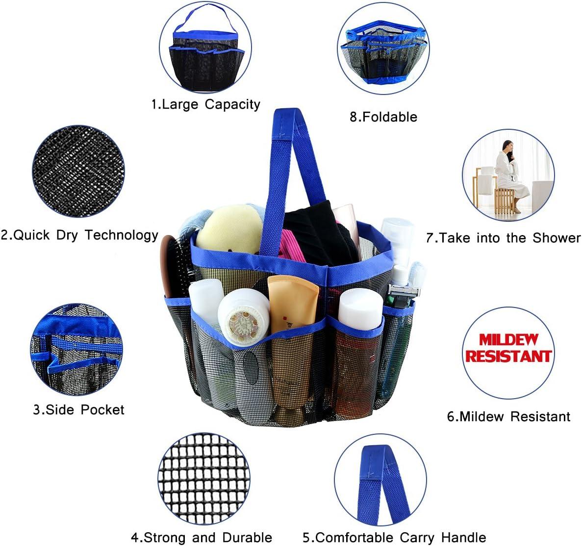 portaoggetti da bagno multifunzione per casa viaggio portaoggetti da doccia portatile in rete Shayson trousse con 8 tasche resistente allacqua e alla muffa palestra dormitorio o campeggio asciugatura veloce