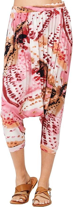 Popana Women/'s Casual Summer Boho Harem Jogger Pants Gaucho Culottes Made in USA