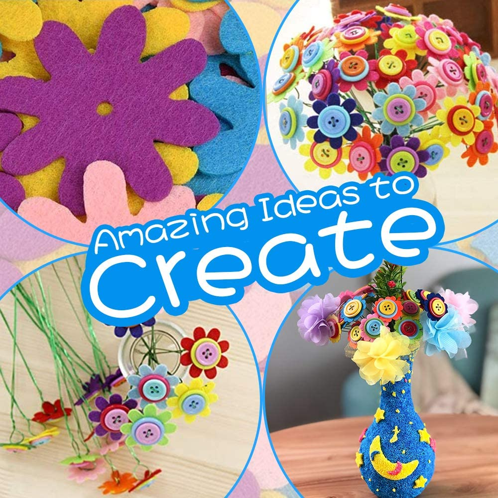 Airsnigi Flower Craft Kit for Kids,DIY Vase Crafts and Art Toy with Colorful Button /& Felt Flowers,Fun Birthday Gift for Girls /& Boys Age 4 5 6 7 8 9 10 11 12 Year Old Sun Flower /…