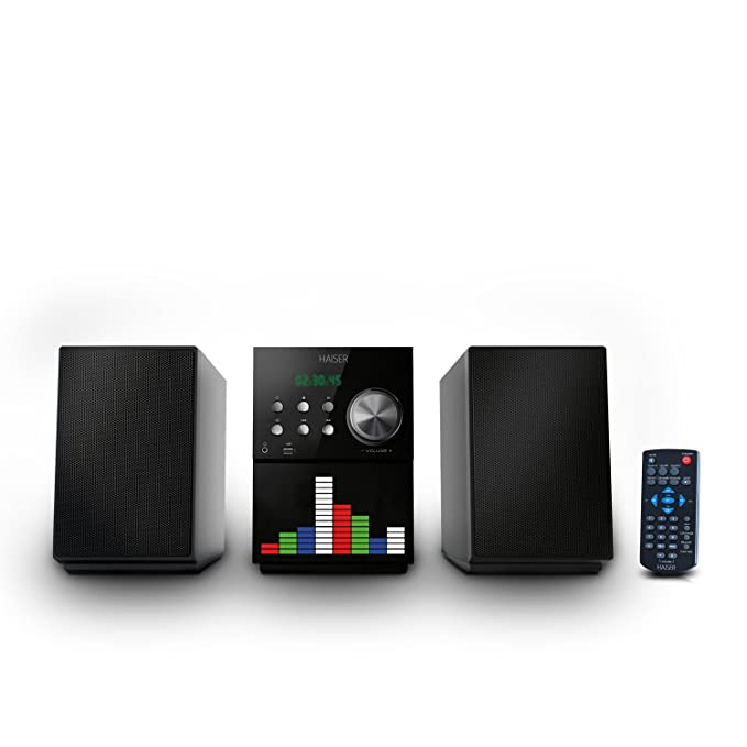 HAISER HSR 115 | 20 Watt RMS mit • CD-Player • Bluetooth • USB • Boxen • FM Radio • LED-Front-Equalizer | Stereoanlage Kompak