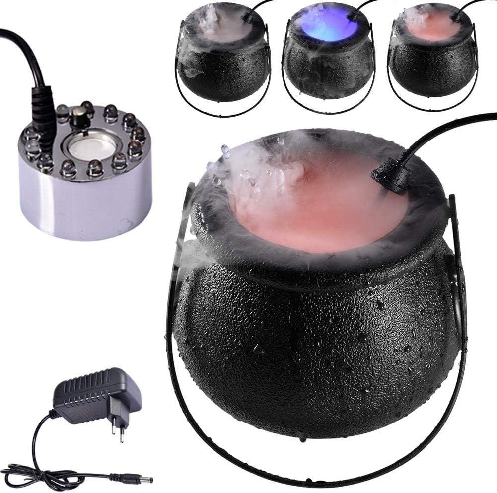 Máquina de Niebla de Halloween, rociador de Niebla LED con 12 Luces LED de Colores, máquina de Humo portátil para caldero de Brujas de Halloween, para Bodas, Halloween, Fiestas y escenarios
