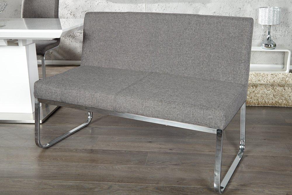 Elegante Sitzbank HAMPTON Mit Rückenlehne Strukturstoff Grau 120 Cm:  Amazon.de: Küche U0026