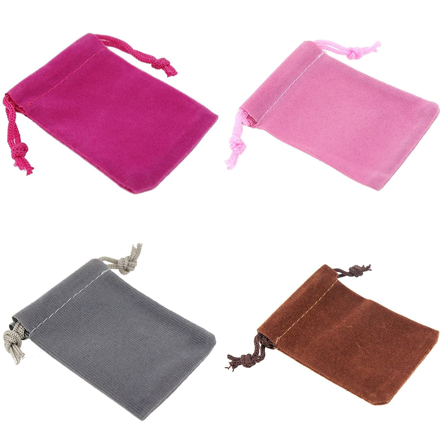 9x12cm Pack of 8 Mix Color Soft Velvet Pouches w Drawstrings for Jewelry Gift Packaging