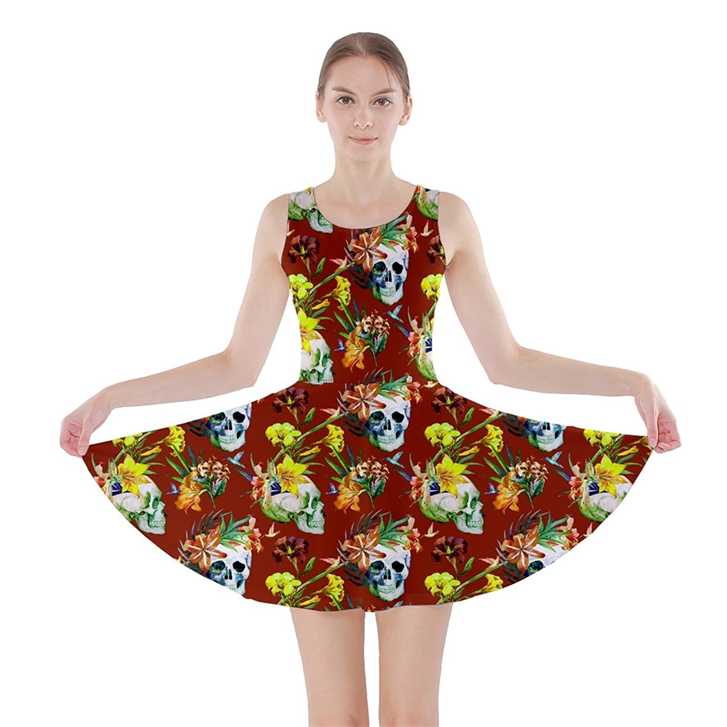 Womens Skull and Flowers Halloween Print Skater Dress