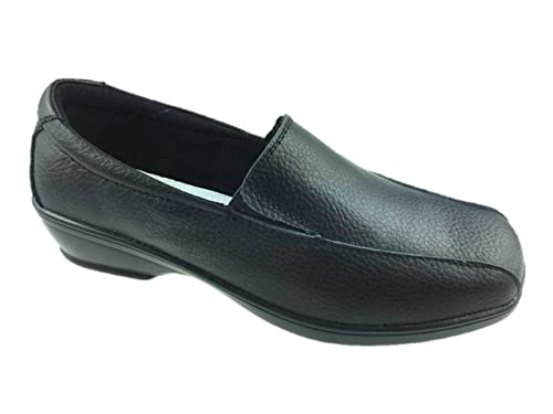 2fac1856ee9 LADIES LEATHER SLIP ON LOW WEDGE COMFORT LIGHTWEIGHT WALKING WORK SHOE  BLACK SIZE 3-8