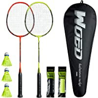 WOED-2 Player Badminton Set, Carbon Fiber Badminton Rackets Badminton Racquet for Backyards Gym with 3 Shuttlecocks 2…