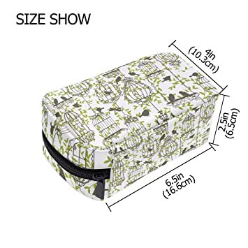 ceb9c9b722e8 Amazon.com : Makeup Bag Birdcage Leaf Travel Cosmetic Bags Toiletry ...