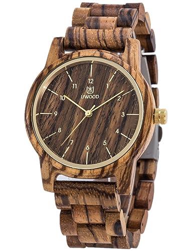 Reloj de madera para hombres y mujeres-Artesanía hecha a mano relojes de madera-banda de madera del reloj -bisel de madera- reloj de pulsera: Amazon.es: ...