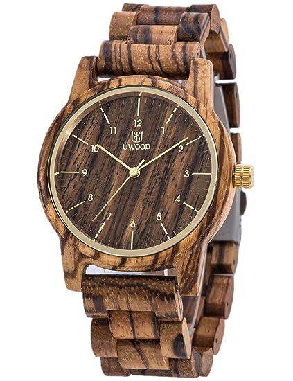 Orologio Di Legno UWOOD Uomo Donna Orologio da polso 40mm Vintage orologi  di legno naturale Amazon.it Orologi
