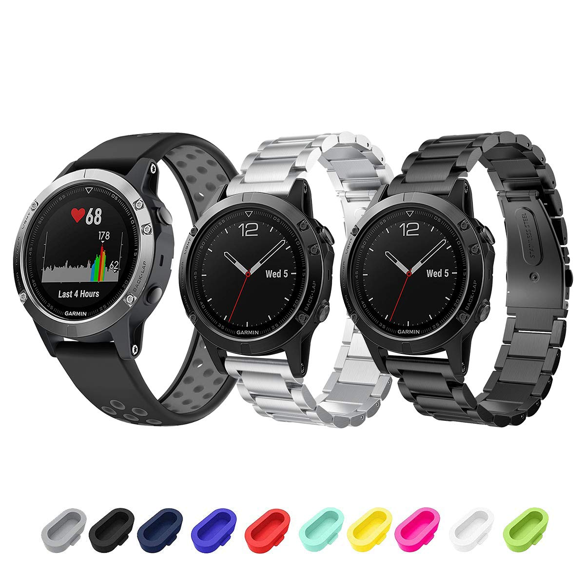 Sycreek Garmin Fenix 5/5 Plus/Forerunner 935/Instinct Smartwatch Band, 22mm Quick Release Solid Stainless Steel Metal+Silicone Replacement Band ...
