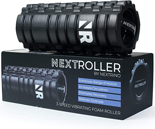 NextRoller 3-Speed Vibrating Foam Roller – High Intensity Vibration for Recovery, Mobility, Pliability Training Deep Tissue Trigger Point Sports Massage Therapy – Firm Density Electric Back Massager