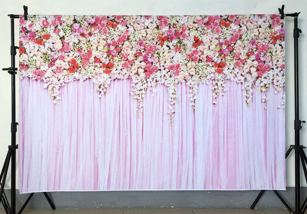 Zhy Pink Hanging Flower Wall Backdrop Wedding Party Decoration Banner Floral Birthday Baby Shower Photography Background 7X5FT Printed Photo Studio Booth Props 11EE053
