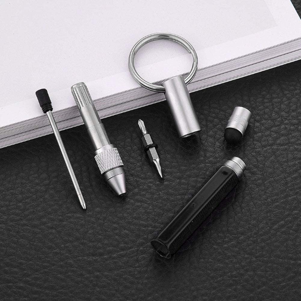 Nicebuty 6/in 1/penna portachiavi pratico portachiavi penna stilo multi-funzione penna a sfera durevole scala Key DIY Tools