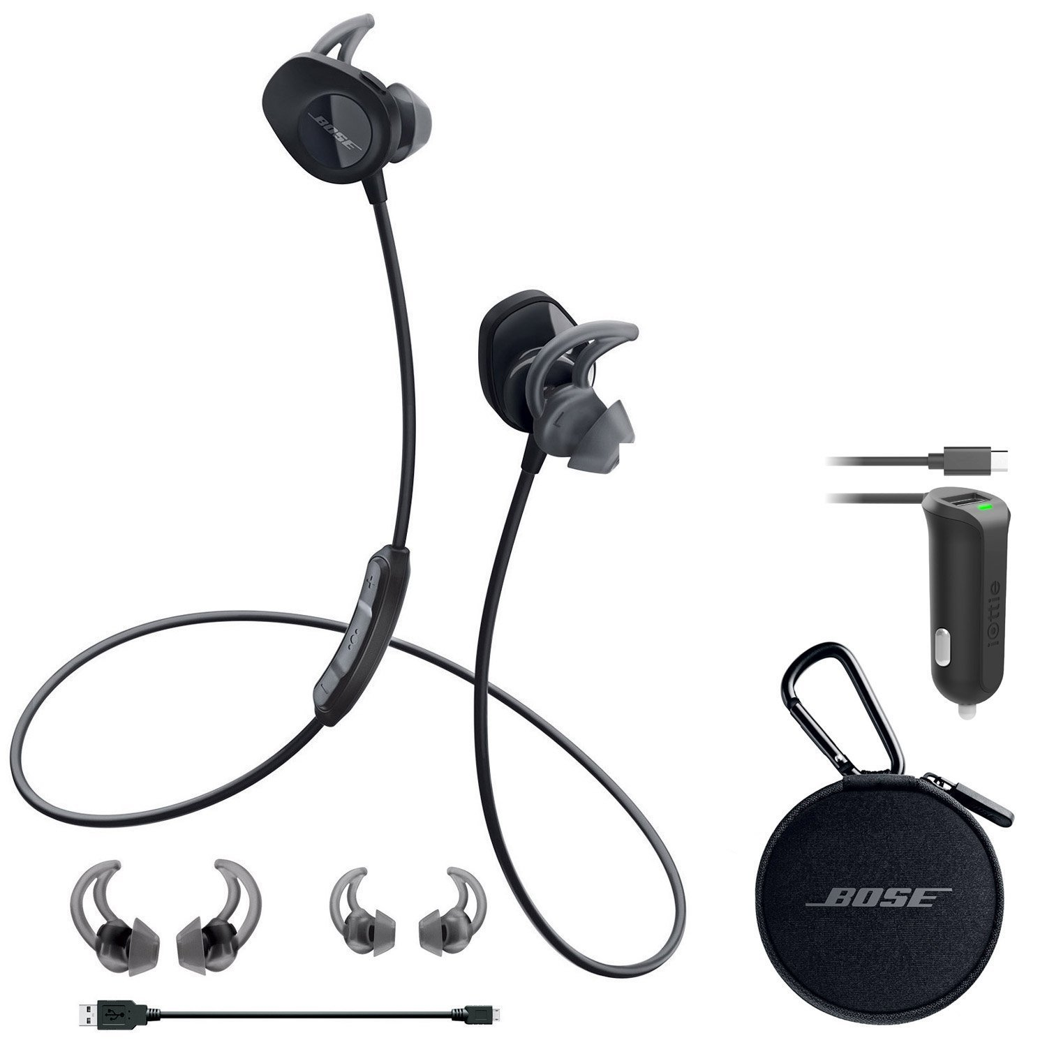 Bose SoundSport Wireless Headphones - Black & Car Charger - Bundle by Bose