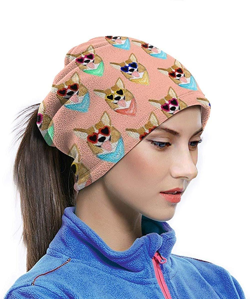 Zhgrong Calentador de Cuello de Microfibra Colorido Corgi Love Sunglass Neck Gaiter Tube Ear Warmer Headband Bufanda Mascarilla Pasamonta/ñas Negro