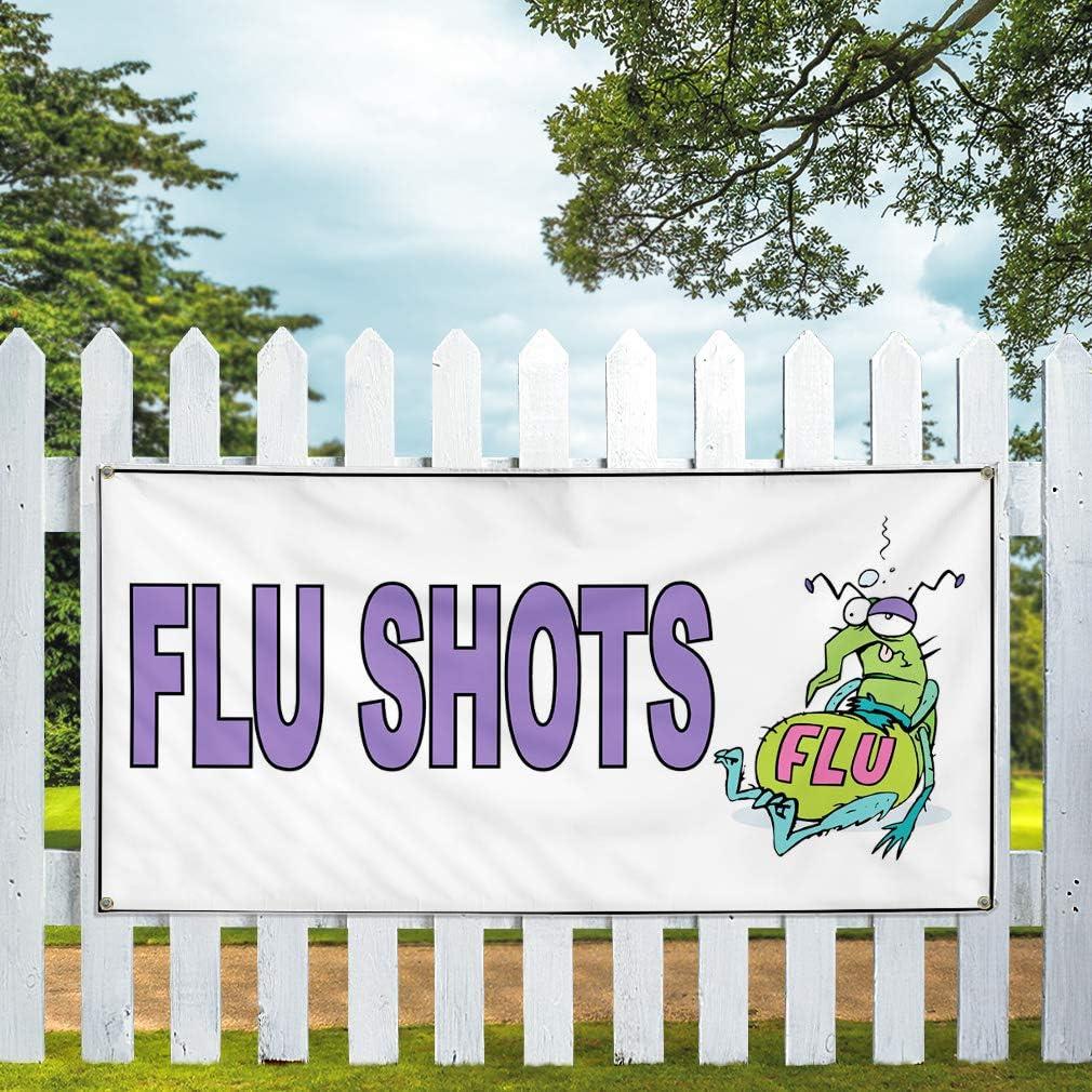 Vinyl Banner Sign Flu Shots White Purple Health Care Marketing Advertising White Set of 3 Multiple Sizes Available 40inx100in 8 Grommets
