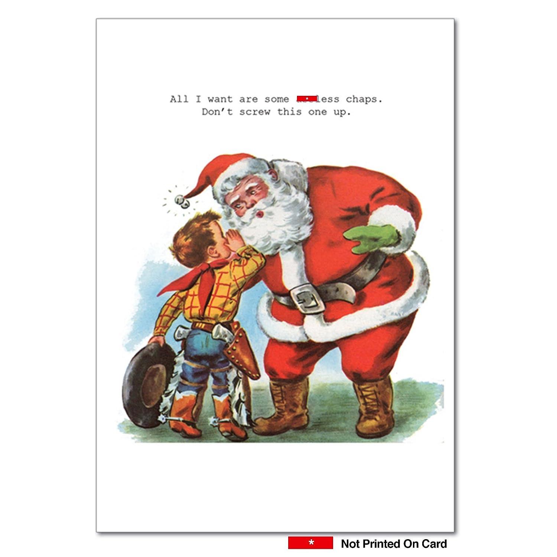 Amazon.com : B1111 Box Set of 12 Assless Chaps Funny Christmas Paper ...
