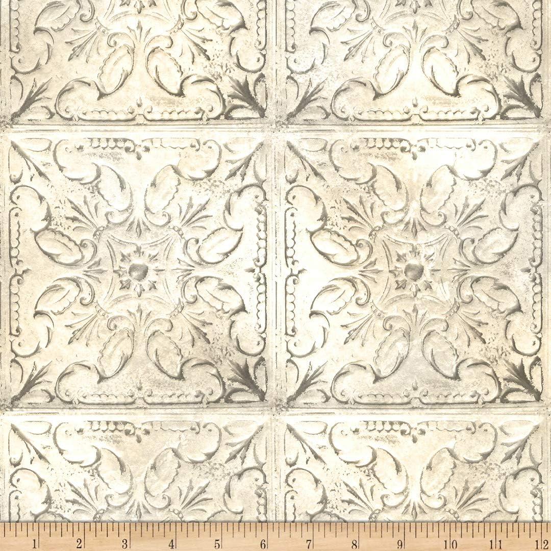 Hoffman Digital Vintage Farmhouse Tin Tile Ivory Fabric by The Yard