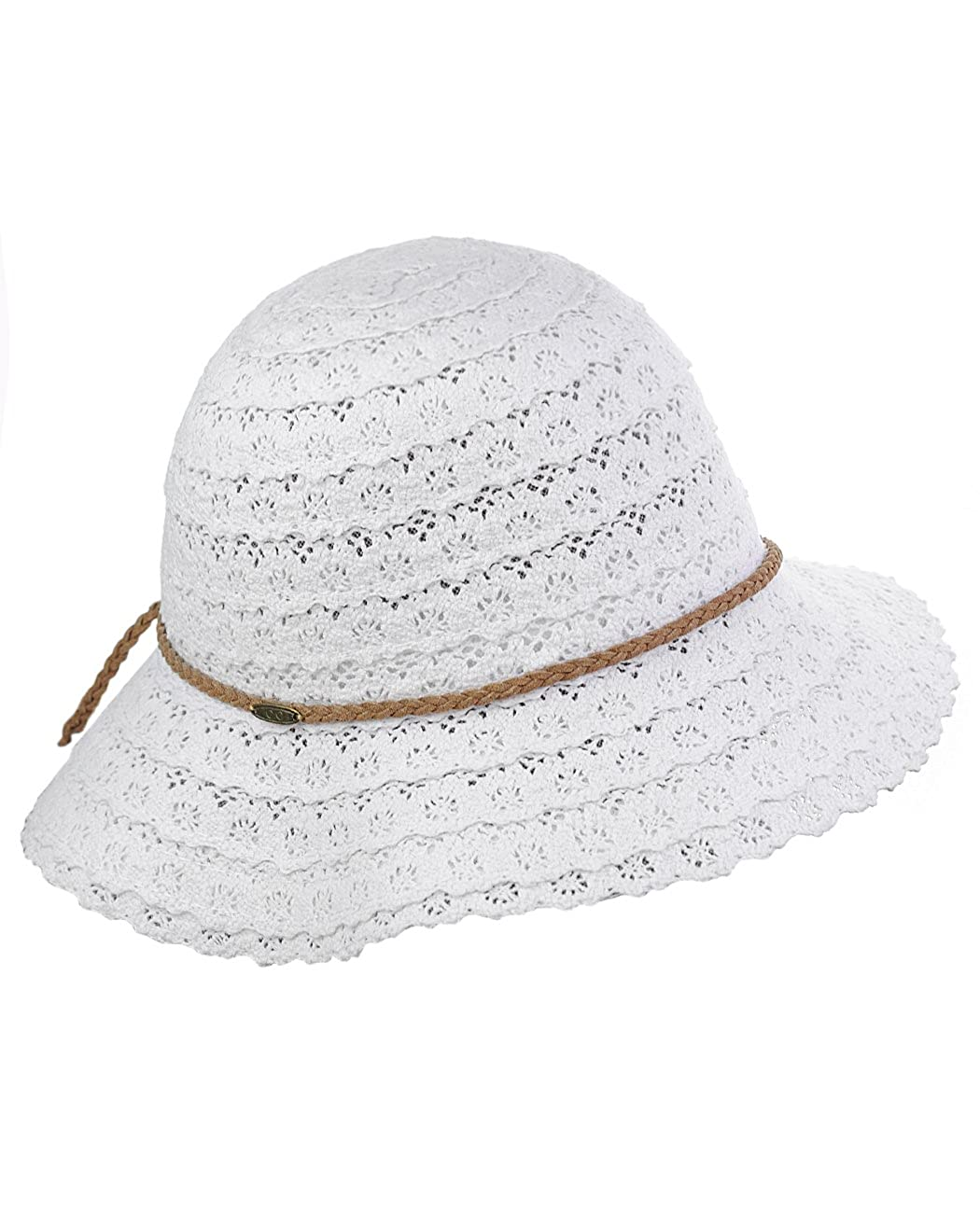 C.C Children s Brown Braided Trim Vented Beach Crushable Sun Hat ... bb6758b1c37