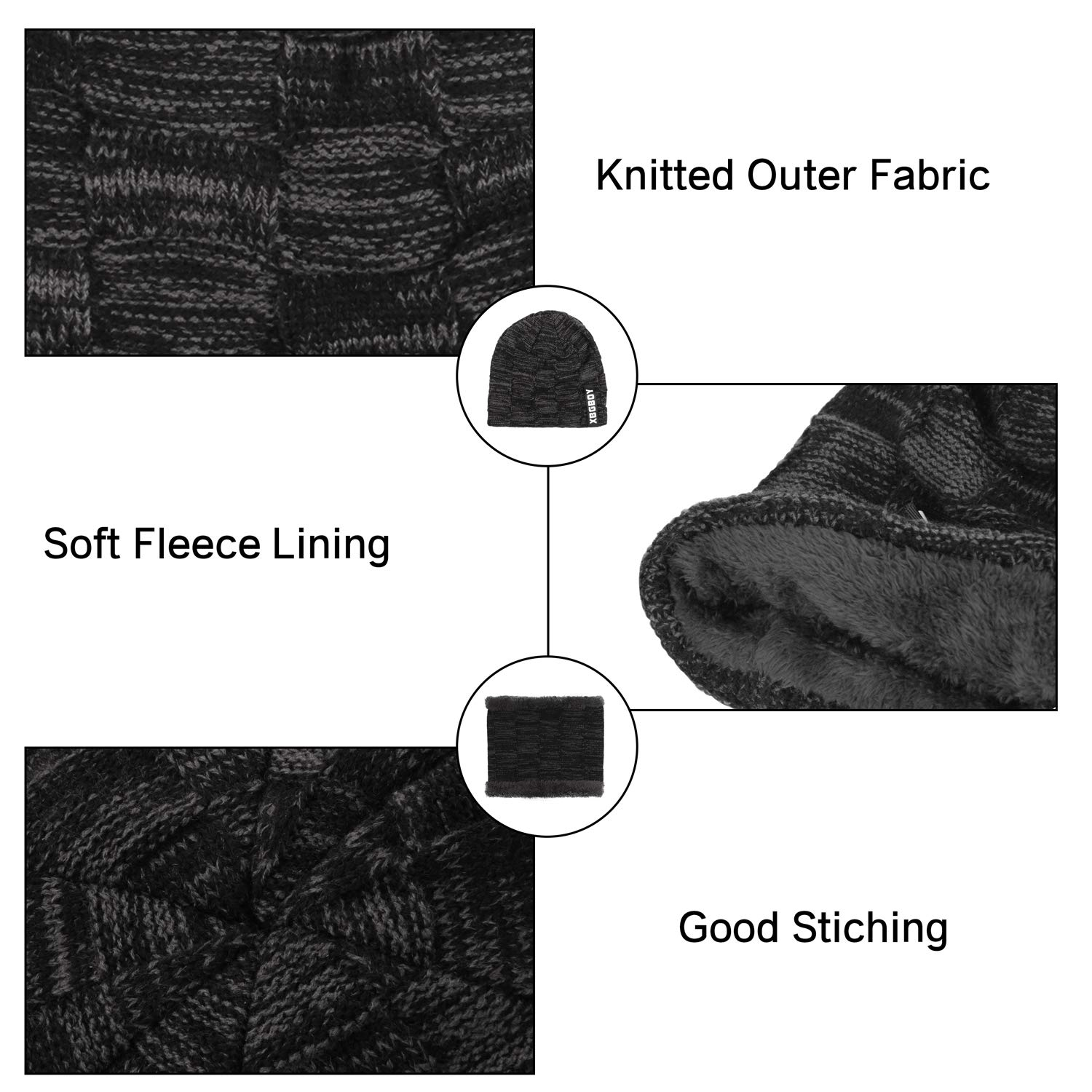 Leejooy Men/'s Winter Hat Scarf Set Knitted Thickened Lining Cap Neck Warmer 2-Piece Gift