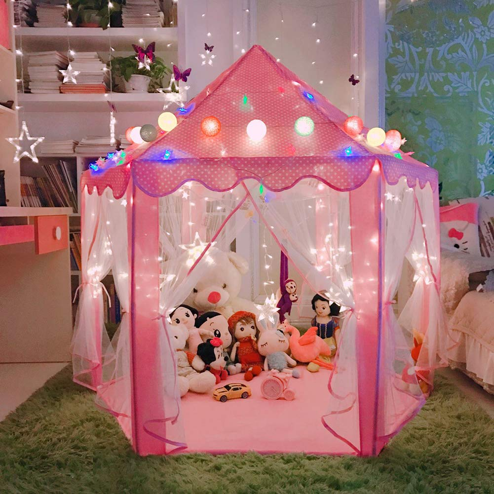 LOJETON Princess Tent Girls Large Playhouse Kids Castle Play Tent with Little Star String Lights, Children Indoor and Outdoor Games - 55'' x 53''(Pink)