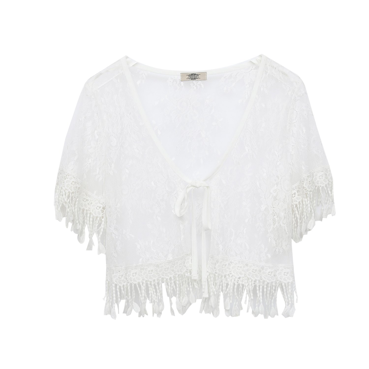 Summer Casual Loose Fringe Tassel Lace Beach Cover up Open Cardigan for Women,XL