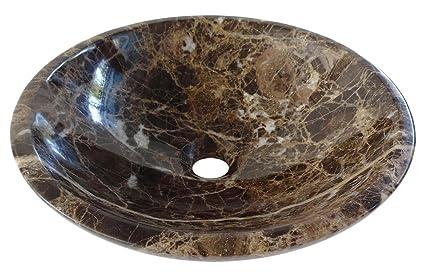 Spagnolo marrone scuro emperador colore bagno bacino in marmo 40 cm