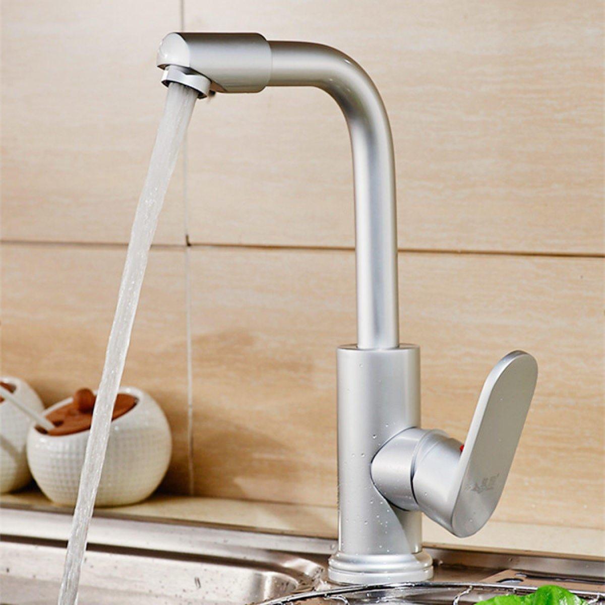 LDONGSH Space Aluminum Basin Table Basin Sanitary Ware Bathroom Wash Single Hole Hot And Cold Mixed Water Faucet Tap